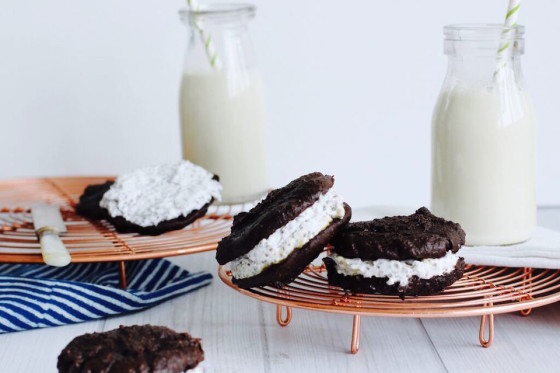 Tahini + Cacao Whoopie Pies from The Fit Foodie. Sugar free, dairy free