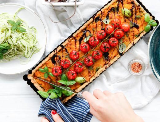 Roast Vegetable Tartlet with Herbed Chickpea Crust