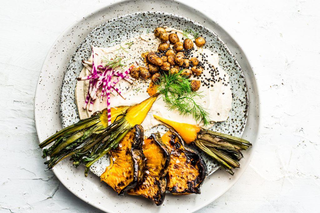 Charred Vegetables and smokey hummus