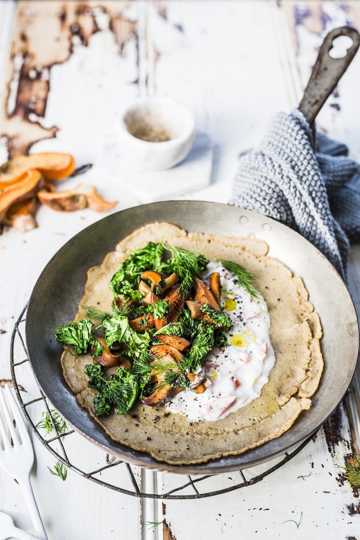 Kale + Mushroom Buckwheat Pancakes